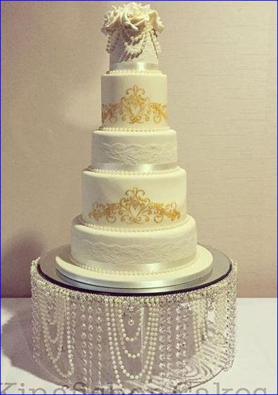 Pearl wedding cake stand Pearl & crystal cake stand all | Etsy