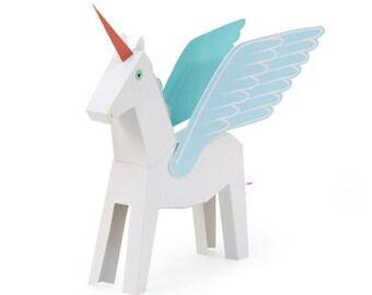 White & Blue Pegacorn Paper Toy - DIY Paper Craft Kit - 3D Paper Animal