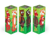 Forest Animals Blocks - PRINTABLE PDF Toy - DIY Craft Kit Paper Toy - 3 paper blocks - Heads, Arms and Legs  - Birthday Party Favor