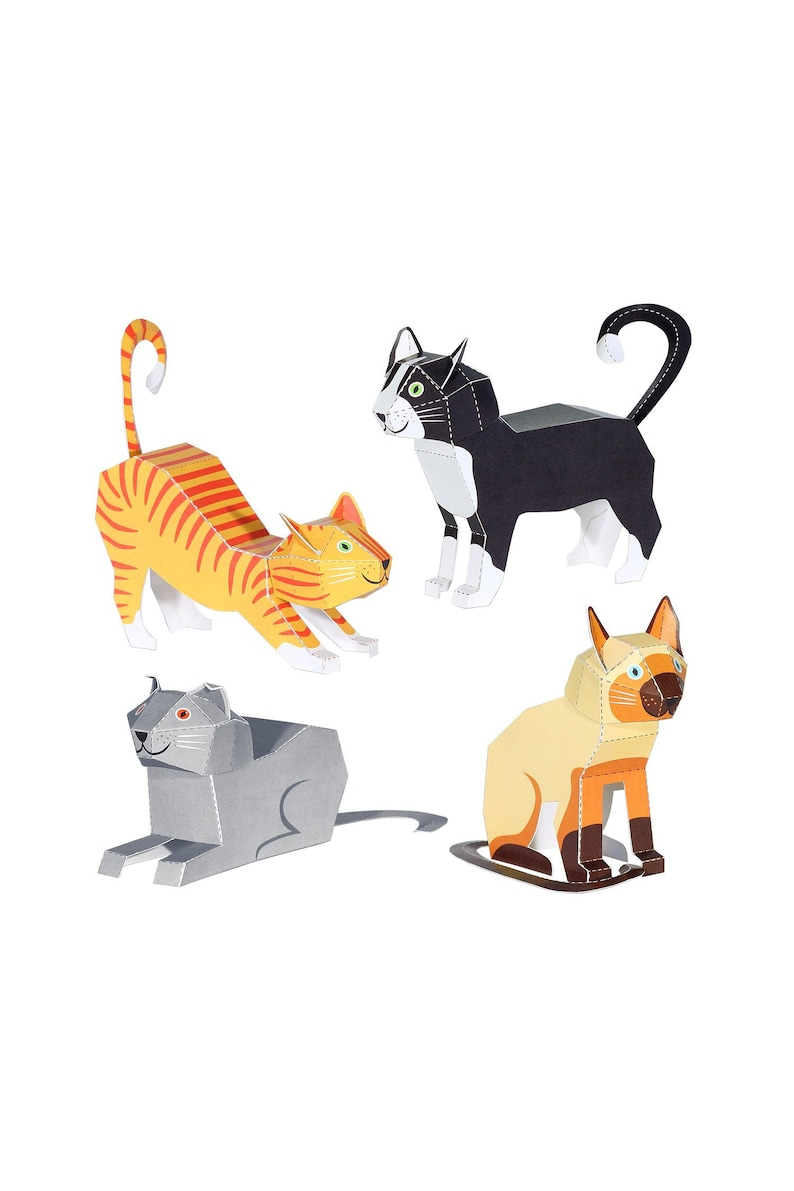 Cats Paper Toys Diy Paper Craft Kit 3d Paper Animals 4 Etsy