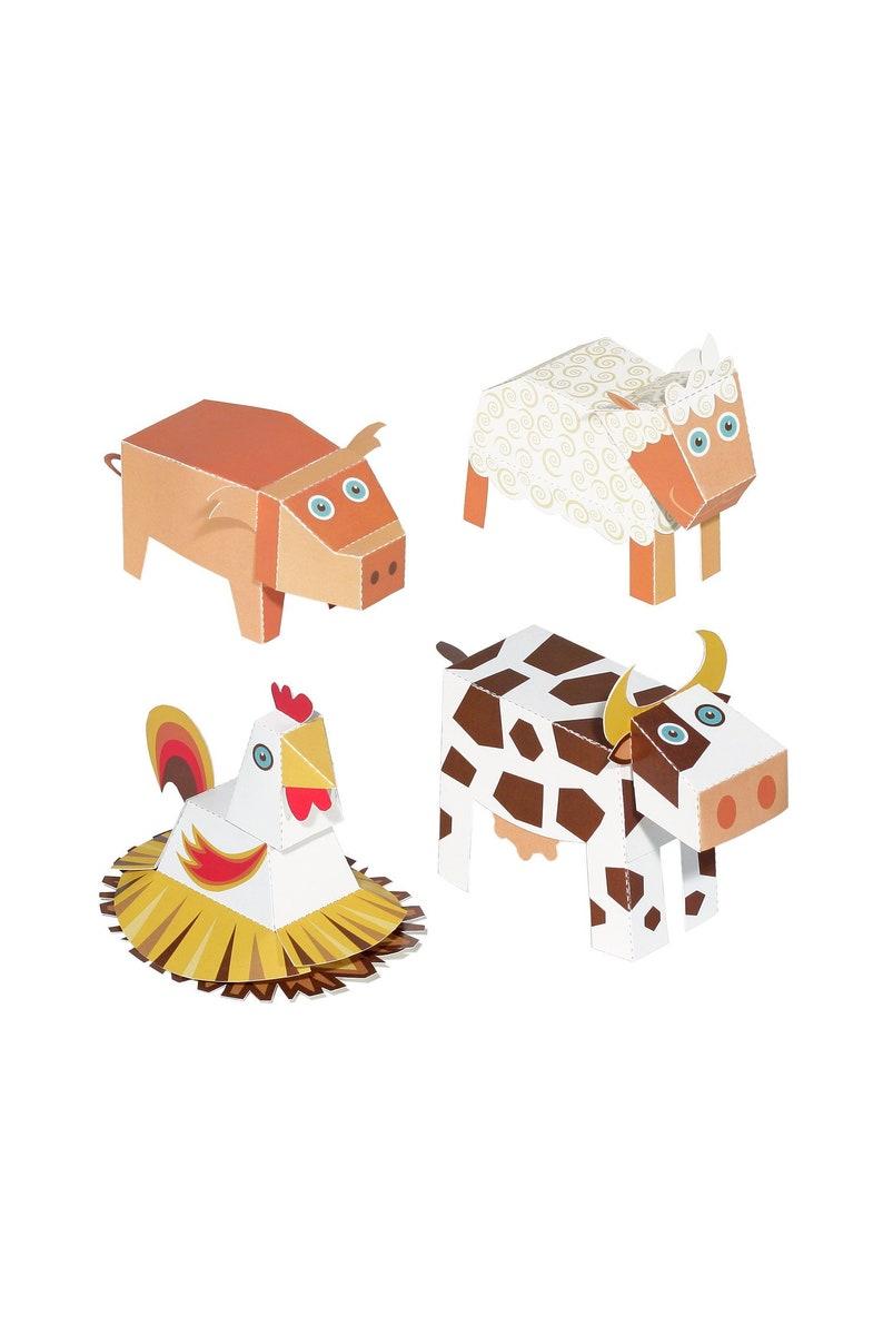 Farm Animals Paper Toys Diy Paper Craft Kit 3d Paper Etsy