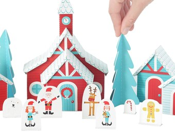 Christmas Paper Village - DIY Paper Craft Kit - Paper Toy - Christmas Toy