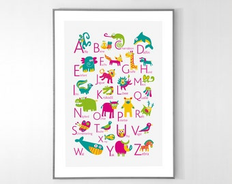 GERMAN Alphabet Poster with animals from A to Z, BIG POSTER 13x19 inches