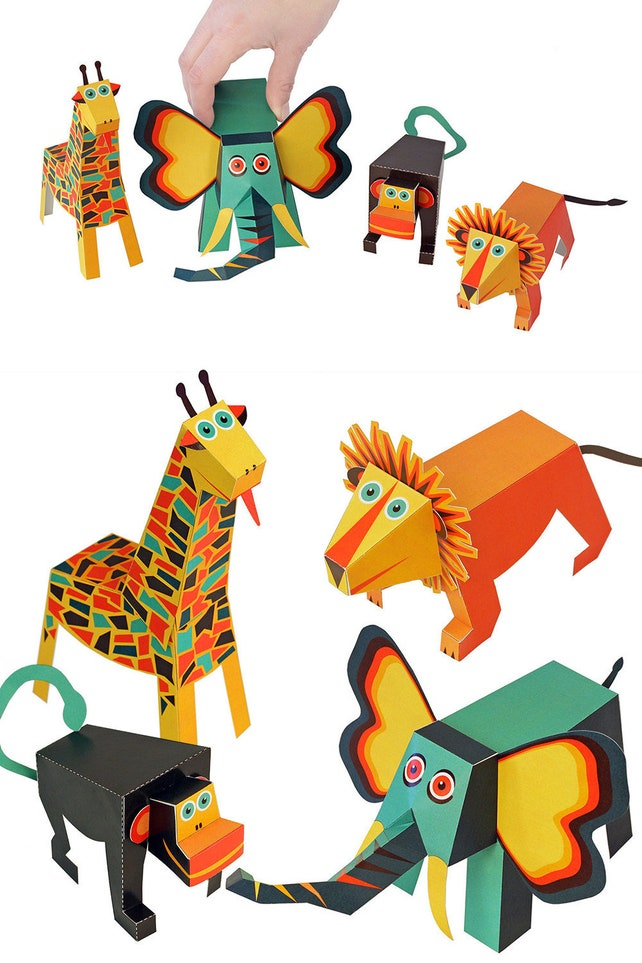 Jungle Animals Paper Toys Diy Paper Craft Kit 3d Paper Etsy