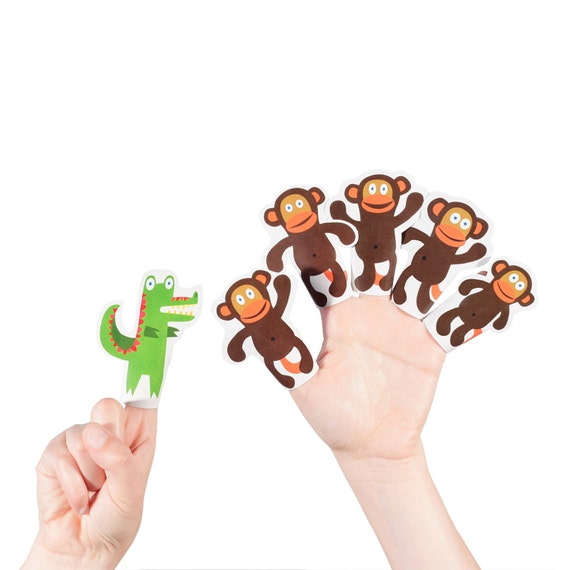 Five Little Monkeys Swinging In The Tree Paper Finger Puppets Printable Pdf Toy Diy Craft Kit Paper Toy Party Favor Nursery Rhyme