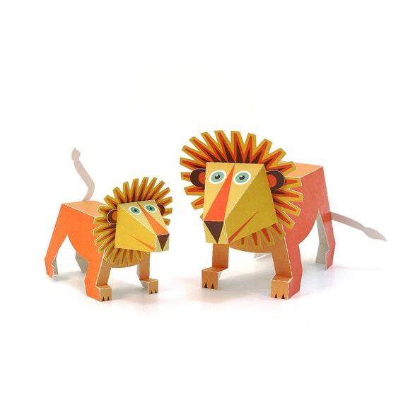 Maxi Lion Paper Toys Diy Paper Craft Kit 3d Paper Animals Etsy