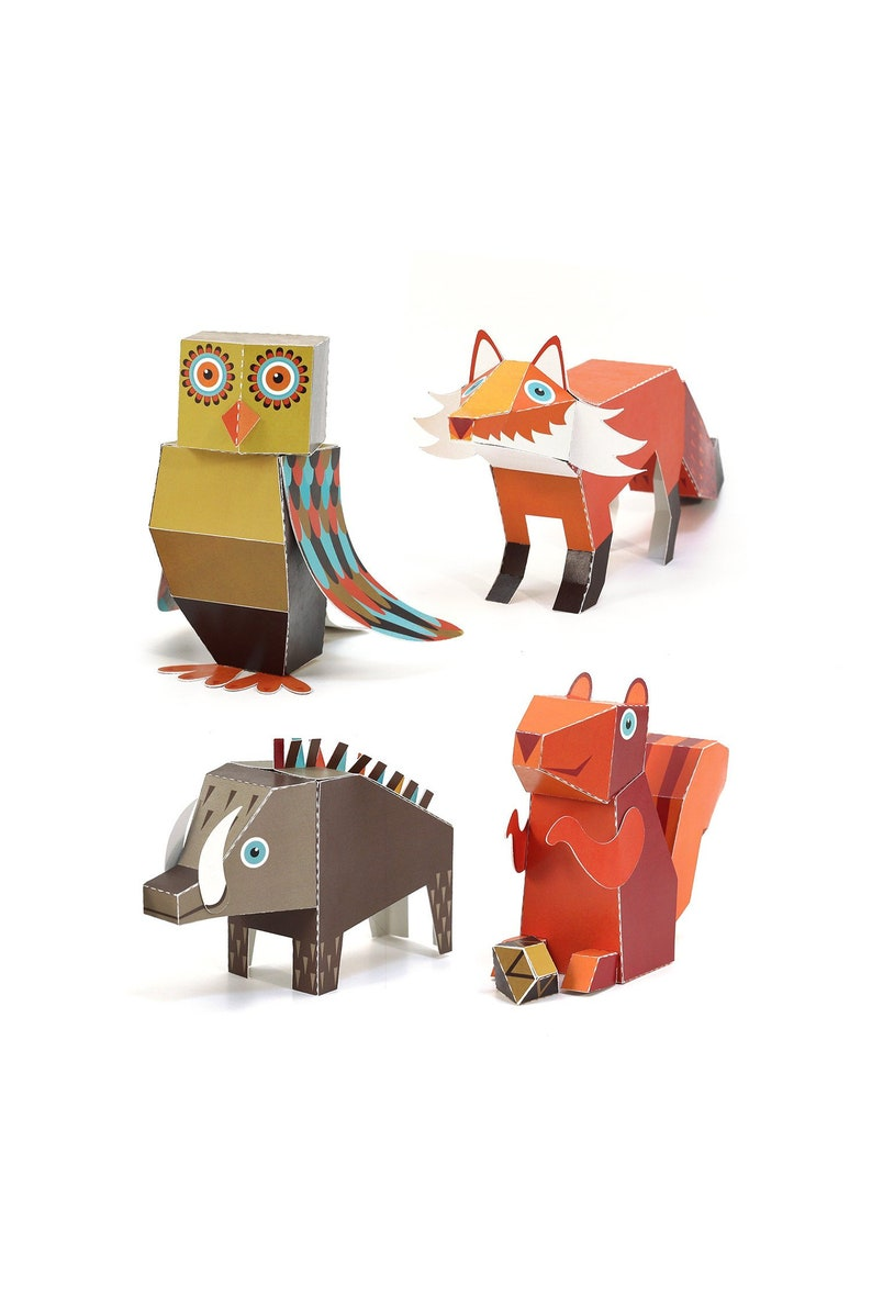 Forest Animals Paper Toys Diy Paper Craft Kit 3d Paper Etsy
