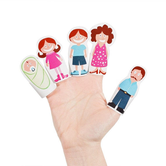 finger family paper finger puppets printable pdf toy diy etsy