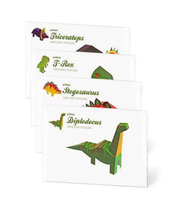 4 Dinosaurs Paper Craft Postcards T Rex Diplodocus Etsy