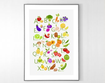 Fruits and Vegetables ENGLISH Alphabet Poster from A to Z, BIG POSTER 13x19 inches