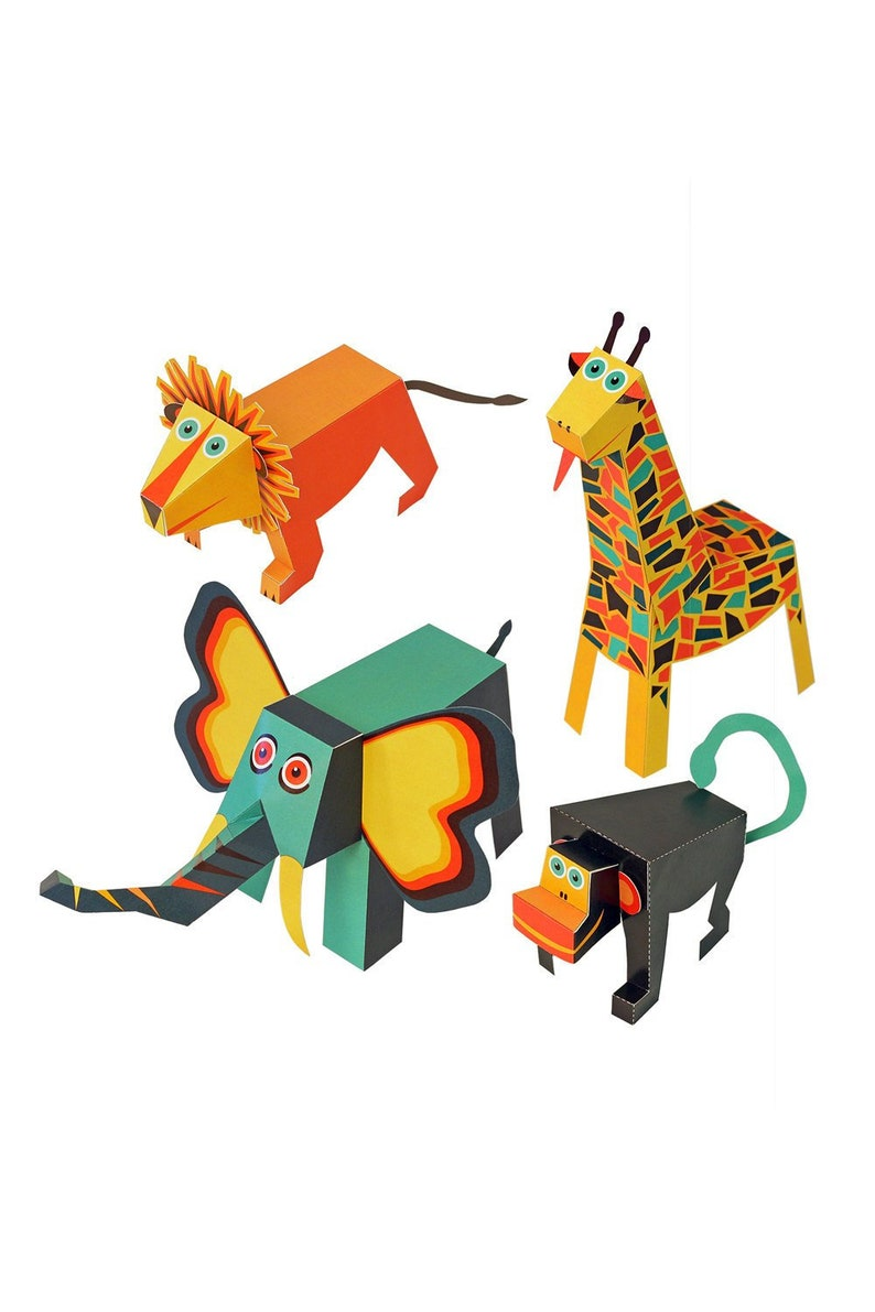 Jungle Animals Paper Toys Diy Paper Craft Kit 3d Paper Etsy