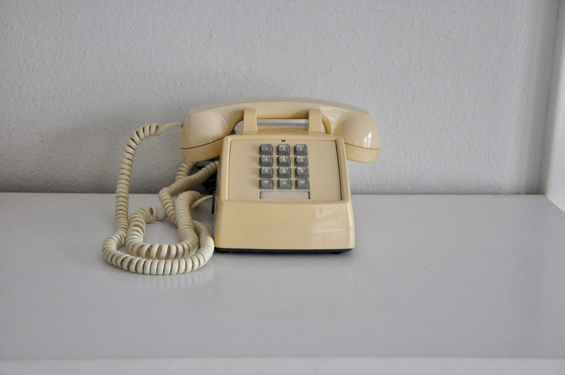ON SALE Vintage Beige Push Button Phone Working Telephone