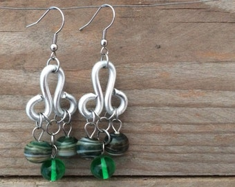 handblown green lampowrk glass earrings