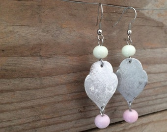 dangle earrings with pink and ivory handblown lampwork glass beads