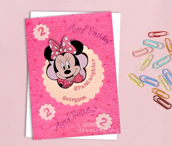 Minnie Mouse Birthday Card Personalized For Kids Handmade Etsy
