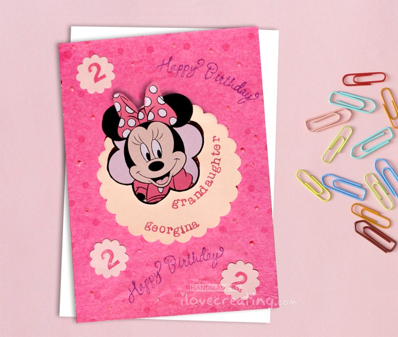 Minnie Mouse BIRTHDAY CARD Personalized For Kids Handmade