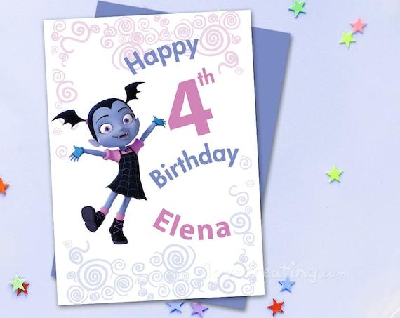 Vampirina Printable Birthday Card For Girls Birthday Card Etsy