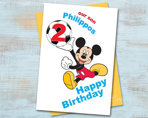 Mickey Mouse Birthday Card Printable Football