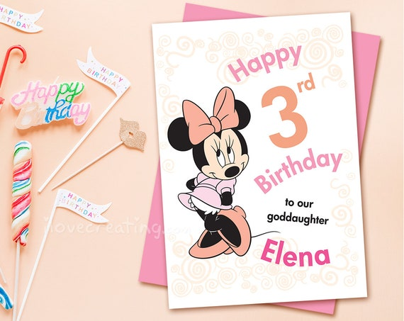Minnie Mouse Birthday Card Printable Greek Personalized Etsy