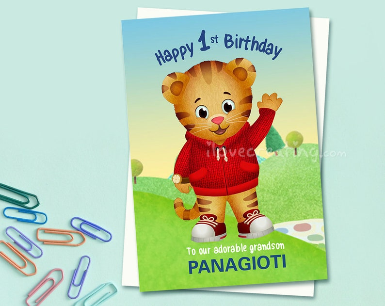 graphic relating to Printable Children's Birthday Cards known as Daniel Tigers Birthday Card Small children - Printable Childrens tailored Birthday Card - Daniel Tiger cartoon - Custom made birthday card