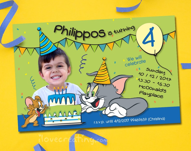 Tom And Jerry Birthday Printable Invitation Personalized With Etsy