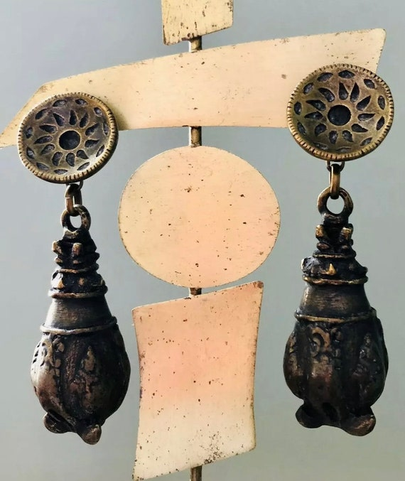 Scooter Paris Statement Runway Earrings ~ Bronzed… - image 3