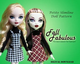 Fall Fabulous turtleneck plaid jumper dress sewing pdf pattern for Petite Slimline Fashion Doll: Monster, Ever After, Dal, Hero Girls