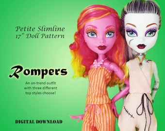 "Romper Jumper digital PDF sewing clothes pattern for 17"" Petite Slimline Fashion High Girl doll Gooliope Frightfully Tall Monster Ever After"