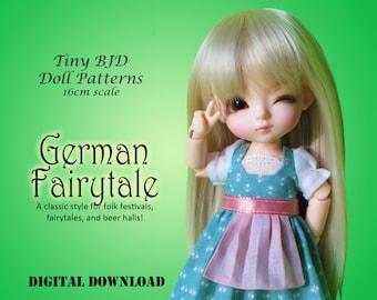 Germain Fairytale dress PDF sewing clothes pattern for 16cm Tiny BJD: PukiFee Lati Yellow Tiny Delf & similar sized dolls