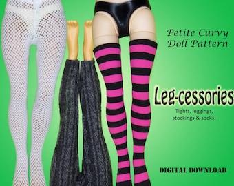 Leg-cessories tights socks stocking leggings easy clothes sewing pattern for Petite Curvy dolls: Rainbow Fashion Doll