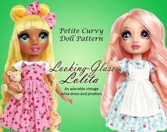 Looking Glass Lolita PDF sewing alice dress clothes pattern for Petite Curvy dolls: Rainbow Fashion Doll