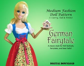 "German Fairytale Doll Clothes PDF Sewing dress pattern for Barbie fashion royalty other 11.5"" Medium Fashion Dolls Tall Petite Strong Curvy"