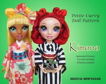 Kimono PDF sewing easy dress clothes pattern for Petite Curvy dolls: Rainbow Fashion Doll