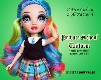 Private School Uniform PDF sewing clothes pattern for Petite Curvy dolls: Rainbow Fashion Doll