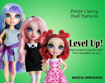 Level Up learn sewing easy dress clothes pattern for Petite Curvy dolls: Rainbow Fashion Doll