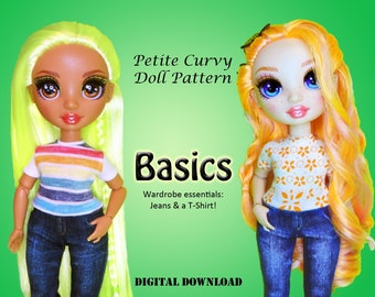Basics Jeans & T-Shirt learn sewing easy clothes pattern for Petite Curvy dolls: Rainbow Fashion Doll