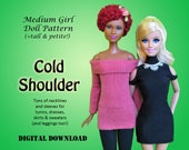 Easy Cold Shoulder dress sweater tunic Doll Clothes PDF Sewing pattern for Barbie, Princess, other 11.5 quot Medium Fashion Dolls Tall Petite