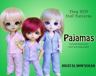 Pajama clothes sewing pattern for 16cm Tiny BJD: PukiFee Lati Yellow Tiny Delf & similar sized dolls