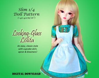 Looking Glass Lolita dress doll clothes sewing pattern for Slim 1/4 MSD BJD: Minifee, Fashion Royalty 16, Ellowyne Wilde, tonner