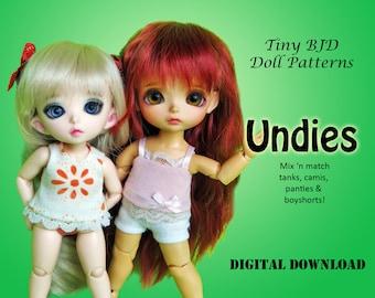 Underwear panty shorts camisole clothes pattern for 16cm Tiny BJD: PukiFee Lati Yellow Tiny Delf & similar sized dolls