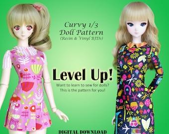 Level Up! dresses PDF sewing pattern for 60cm bjd vinyl + resin ex Smart Doll Dollfie Dream Fairyland F60 Volks SDGR