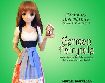 German Fairytale skirt blouse bodice pdf sewing clothes pattern for Curvy 1/3 60cm BJD: SD, SDGR, Dollfie Dream, Smart Doll, dd