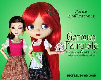 German Fairytale Dirndl doll clothes PDF Sewing Dress Pattern for Petite Fashion Dolls Blythe Licca Skipper Descendants Obitsu 24 Pure Neemo