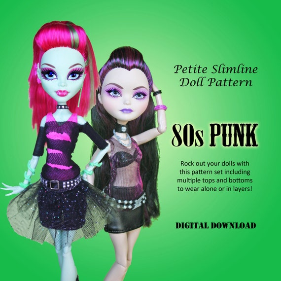 80s Punk Rock Dresses Doll Clothes PDF Sewing Pattern for Petite Slimline girls: High, Ever After, Monster, Dal, obitsu, Super Hero