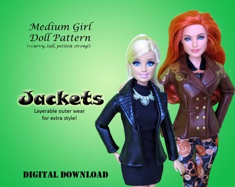 """Leather Jacket coat Doll Clothes PDF Sewing pattern for Barbie, Princess, WWE, other 11.5"""" Medium Fashion Dolls Tall Petite Strong Curvy"""