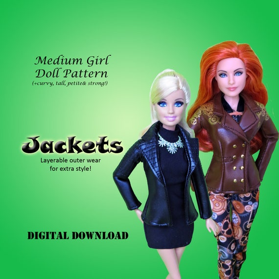 Leather Jacket Coat Doll Clothes Pdf Sewing Pattern For Etsy