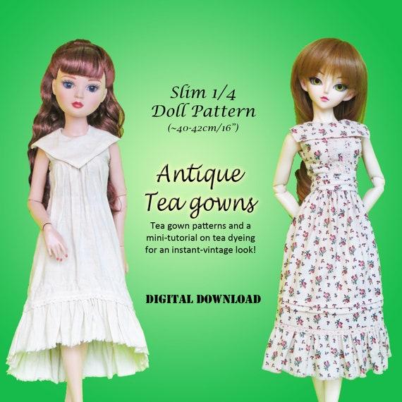 Tea Gown antique vintage dress doll clothes pattern Slim 1/4 MSD BJD & 16