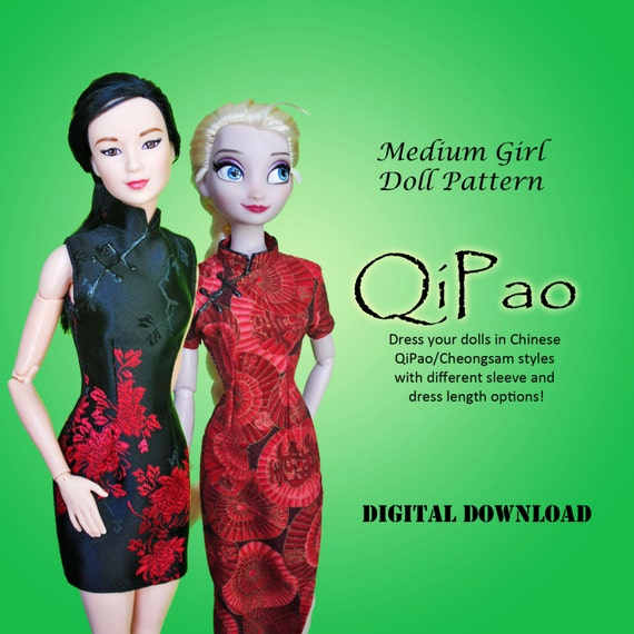 Easy QiPao Cheongsam Chinese Dress Clothes pattern for Barbie
