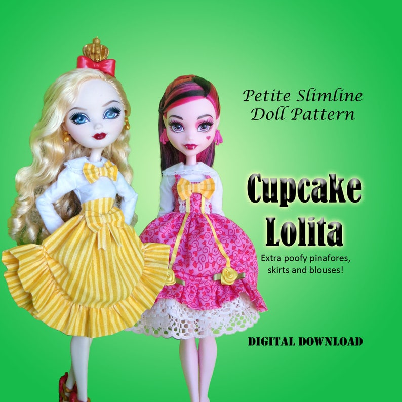 d51bfb93152f7 Cupcake sweet lolita sewing pinafore dress sewing pattern for Petite  Slimline Fashion Doll: Monster, Ever After, Dal, Hero Girls