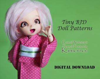 Kimono dress clothes pattern for Tiny BJD: PukiFee Lati Yellow Tiny Delf & similar sized dolls
